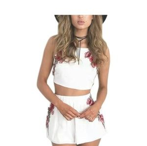 Pants - White Rose Embroidered Crop Top Set